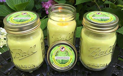Image of Natural Lemongrass, Citronella Mosquito Repellent Candle (Set of 3) Indoor/Outdoor -88 Hour Burn- Naturally Repels Insects with Essential Oils, Soy Base, Ball Mason Jar, Made in USA, Mosquito Naturals