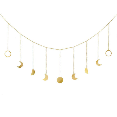 Mkono Moon Phase Garland with Chains Boho Gold Shining Phase Wall Hanging Ornaments Moon Hang Art Room Decor for Wedding Home Office Nursery Room Dorm, Gold - zingydecor