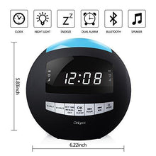 Load image into Gallery viewer, OnLyee Digital Dimmable Alarm Clock Radio & Wireless Bluetooth Speaker with Dual USB Charging, Multi-Color LED Night Light, Hands-free Calls, Snooze - zingydecor