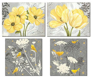 Beautiful Grey & Yellow Poster Set; Birds and Flowers; Two 12x12in and Two 14x11in Unframed Poster Prints - zingydecor