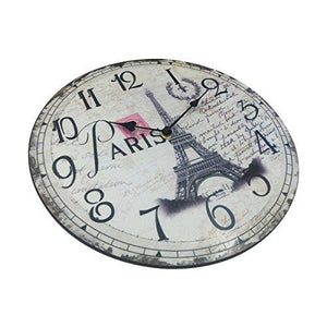 Hippih Silent Round Wall Clocks (12 Inches) Living Room Decorative Vintage / Country / French Style Wooden Clock(Round Eiffel) - zingydecor