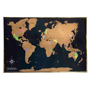 "Deluxe Scratch Off World Map - Includes Precision Scratch Off Tool and Gift Ready Packaging - Scratch Off World Travel Tracker Map - 24x36"" Size Fits Common Poster Frames - zingydecor"