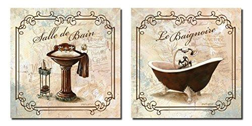 Classic Prints for Decorating Bathroom; Salle De Bain & Le Baignoire (Two 12x12in Prints)