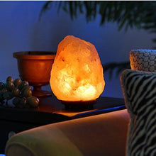 "Load image into Gallery viewer, Natural Himalayan Hand Carved Salt Lamp with Indian Rosewood Base, Bulb And Dimmer Control, Medium Size, 8-11 lbs, 7.5-10"" Height - zingydecor"
