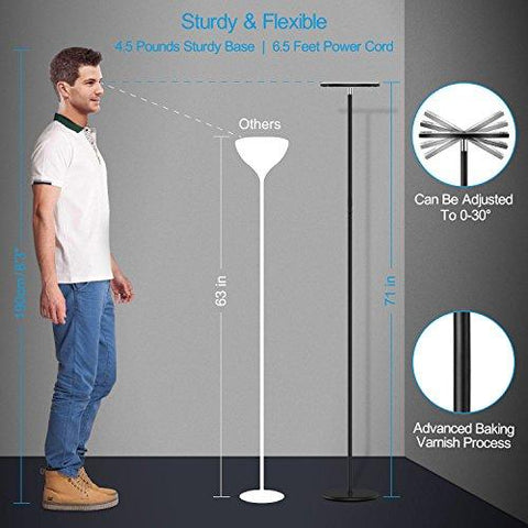 Image of Vacnite LED Torchiere Floor Lamp, Smart-Touch-Dimming, 71-Inch,36-Watt,Super Bright Warm White for Bedroom Living Room Office - Simple Streamlining Black