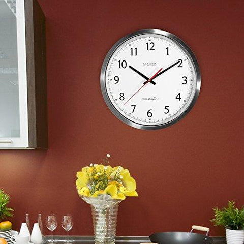 Image of La Crosse Technology 404-1235UA-SS 14 Inch UltrAtomic Analog Stainless Steel Wall Clock