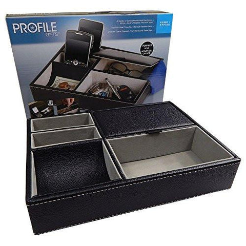 Profile Gifts 10 Inch Black Leatherette Valet Tray - 5 Compartments