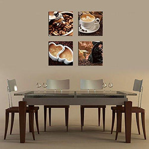 Coffee Bean Coffee Pictures Painting Canvas Prints Wall Art Decor Framed Ready to Hang - 4 Panels Modern Giclee Artwork Contemporary Canvas Art for Kitchen Dinning Home Decoration - zingydecor