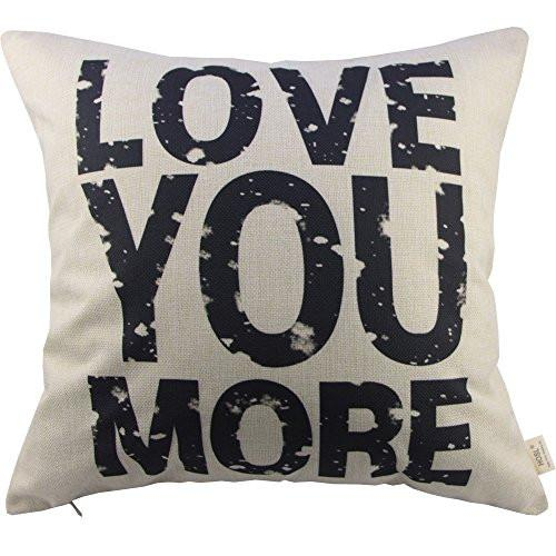 HOSL Love You More Cotton Linen Pillow Cover, 17.3 x 17.3-Inch, White - zingydecor