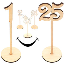Load image into Gallery viewer, Wooden Wedding Table Numbers 1-25 Pack THICK HEAVY DUTY Vintage Home Birthday Party Event Banquet Decor Anniversary Decoration Favors Signs Natural Color Set Stands With Base Holder Catering Reception - zingydecor
