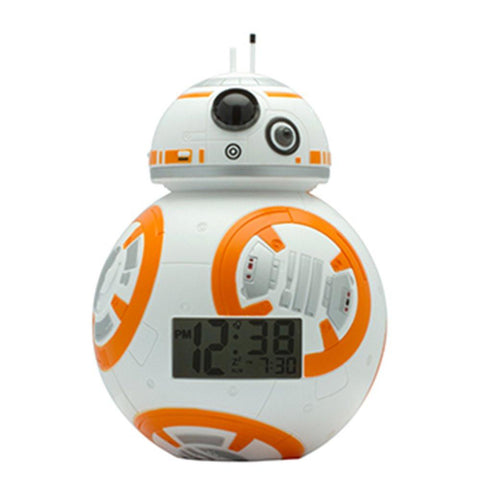 Image of BulbBotz Star Wars BB-8 Kids Light Up Alarm Clock, white/orange plastic 7.5 inches tall LCD display, boy girl official - zingydecor