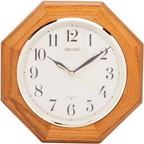 Seiko Wall Clock Medium Brown Solid Oak Case - zingydecor