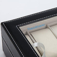 Load image into Gallery viewer, Readaeer Black Leather 10 Watch Box Case Organizer Display Storage Tray for Men & Women - zingydecor