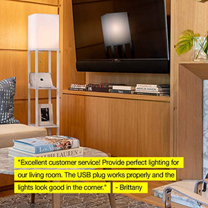 Brightech Maxwell Charger - Shelf Floor Lamp with USB Charging Ports & Electric Outlet - Tall & Narrow Tower Nightstand for Bedroom - Modern, Asian End Table with Light Attached - White