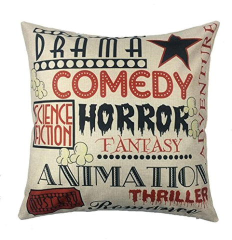 Image of Movie Theater Cinema Personalized Home Decor Design Throw Pillow Cover Pillow Case 18 x 18 Inch Cotton Linen for Sofa Set of 4