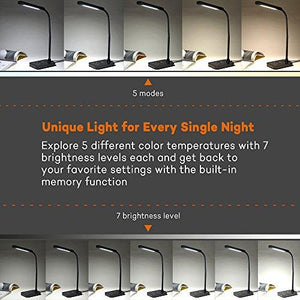 TaoTronics LED Desk Lamp, Flexible Gooseneck Table Lamp 7W, 5 Color Temperatures with 7 Brightness Levels, Touch Control, Memory Function - zingydecor