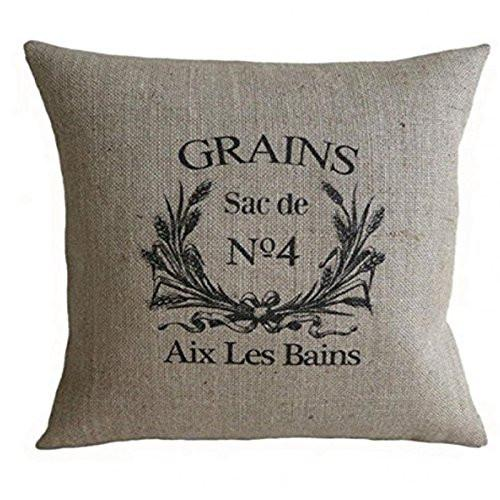 PatriciaStore decorative pillow covers Vintage French Grain Sack 18 X 18 inch - zingydecor