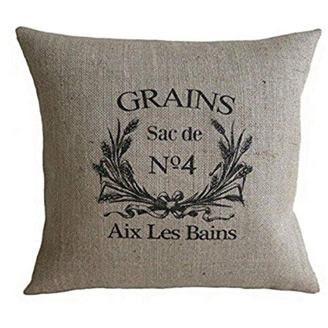 Image of PatriciaStore decorative pillow covers Vintage French Grain Sack 18 X 18 inch