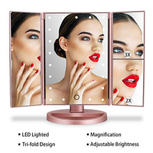 Load image into Gallery viewer, Lighted Vanity Mirror with 21 LED Lights, Touch Screen and 3X/2X/1X Magnification, Two power Supply Mode make up mirror,travel Mirror (Black)