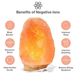 Levoit Elana Himalayan Salt Lamp Hand Carved Natural Himilian Hymalain Pink Salt Rock Lamps(8-11 lbs), Premium Quality Wood Base,Touch Brightness Dimmable Control,3 Bulbs,UL Cord & Gift Box - zingydecor