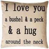 "Generic I Love You a Bushel and a Peck Personalized Cotton Blend Linen Throw Pillow Cushion Covers, Beige, 18"" x 18"""