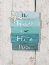 "Load image into Gallery viewer, The Beach Is My Happy Place - Plank Board Sign with Starfish and Rhinestone Accents 12"" X 9"" - zingydecor"