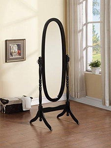Wooden Cheval Floor Mirror, Black Finish by eHomeProducts - zingydecor