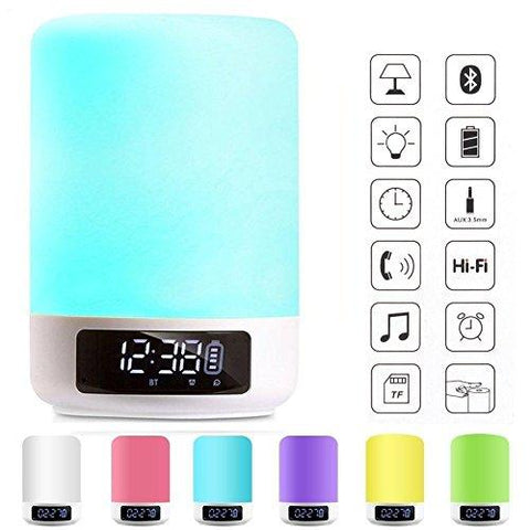 Bedside Lamps - ALECTIDE Bluetooth Speakers, Table Lamp Touch Sensor Dimmable Colors Night Lights 4 Level Brightness Changing, Alarm Clock, Hands-free, Timing Function Best Gifts for Baby Kids Teens