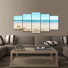 Load image into Gallery viewer, Pyradecor Seashell 5 panels Seascape Giclee Canvas Prints Landscape Pictures Paintings on Modern Stretched and Framed Canvas Wall Art Sea Beach Pictures Artwork for Home Decor - zingydecor