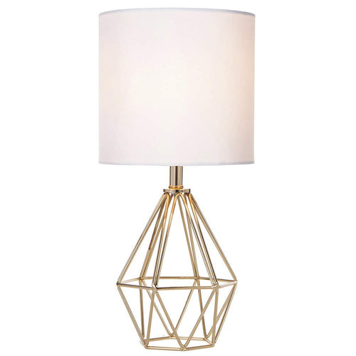 Gold Modern Hollow Out Base Living Room Bedroom Small Table Lamp,Bedside Lamp with Metal Base and White Fabric Shade