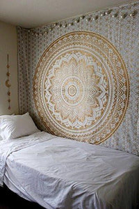Tapestry Gold Ombra by Craft N Craft India Mandala Tapestry, Queen Indian Mandala Wall Art Hippie Wall Hanging Bohemian Bedspread (Queen ( 210 x 230 Cm))