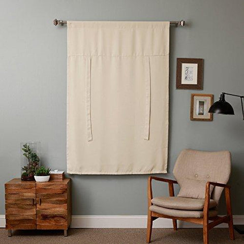 RHF Tie Up Shades -Rod Pocket Thermal Insulated Blackout Tie Up Curtain, 42 Inch Wide By 63 Inch Long Panel-Beige