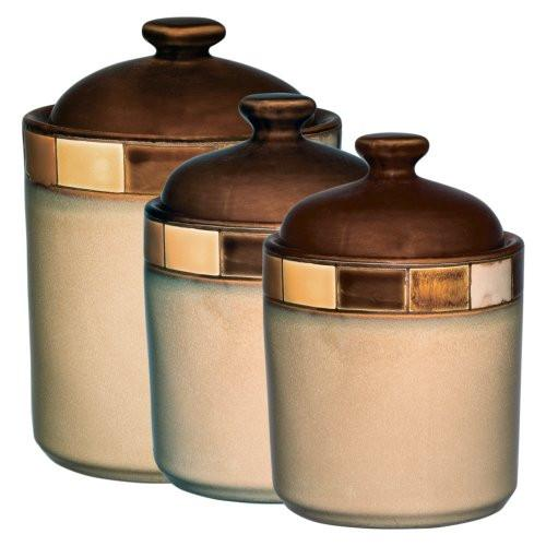 Gibson Casa Estebana 3-piece Canister Set, Beige and Brown