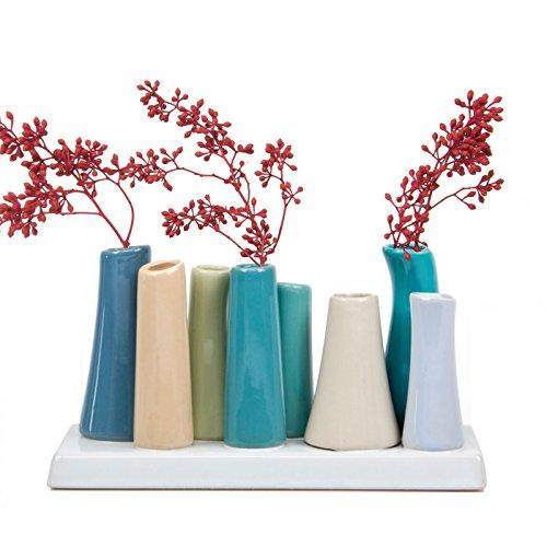 Chive - Pooley 2, Unique Ceramic Flower Vase, Low Rectangular Modern Decorative Vase for Home Decor Living Room Office and Centerpieces, Steel Blue Teal Green - zingydecor