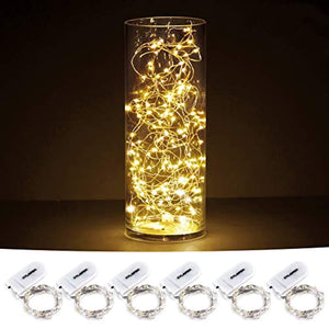 CYLAPEX Pack of 6 LED Starry String Lights with 20 Micro LEDs on 3.3feet/1m Silver Coated Copper Wire, Fairy Lights Battery Powered by 2x CR2032(Incl), for Party Christmas Table Decorations Warm White - zingydecor