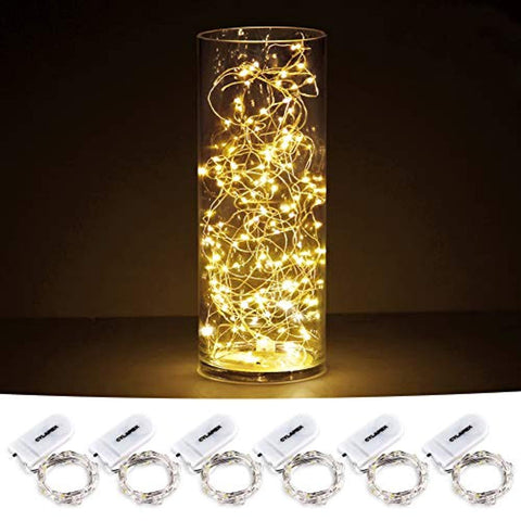 CYLAPEX Pack of 6 LED Starry String Lights with 20 Micro LEDs on 3.3feet/1m Silver Coated Copper Wire, Fairy Lights Battery Powered by 2x CR2032(Incl), for Party Christmas Table Decorations Warm White