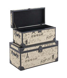 Deco 79 Wood Burlap S/2 Trunk, 17 by 17 by 30-Inch, Black - zingydecor