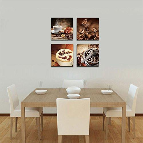 Wieco Art P4R1x1-08 4-Panel Canvas Print Warm Coffee Modern Canvas Wall Art, 12 by 12-Inch