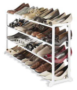 Whitmor 20-Pair Floor Shoe Stand, White - zingydecor