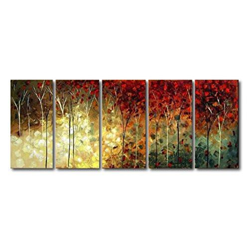 5 Panel 100% Hand Painted Oil Paintings Landscape Trees Forest Modern  Abstract Contemporary Artwork Stretched Wood Framed Ready Hang Home  Decoration Wall ...