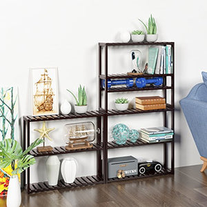 Bamboo Bathroom Shelf 3-Tier Multifunctional Adjustable Layer Rack Wall Mounted Utility Storage Organizer Towel Shelves Kitchen Living Room Holder Dark Brown
