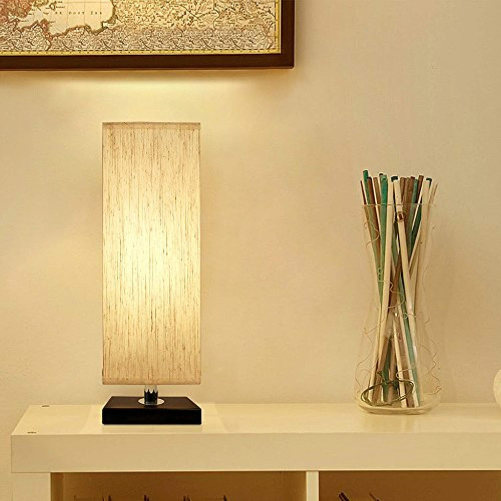 Bedside Table Lamp, Aooshine Minimalist Solid Wood Table Lamp Bedside Desk Lamp With Square Flaxen Fabric Shade for Bedroom, Dresser, Living Room, Kids Room, College Dorm, Coffee Table, Bookcase - zingydecor