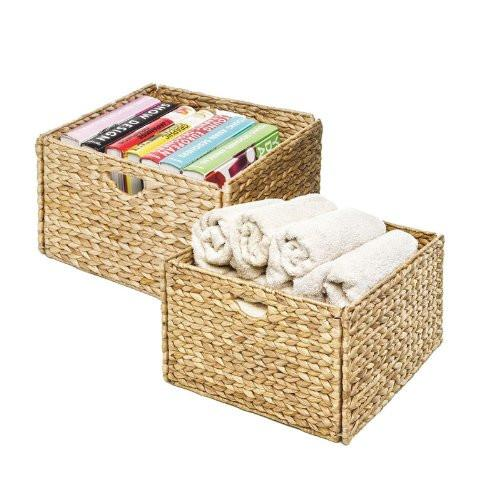 Seville Classics Hand-Woven Water Hyacinth Storage Baskets, 2-Pack - zingydecor