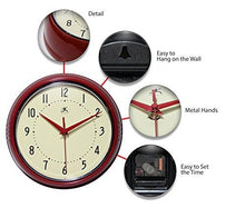 9.5 inch SILENT Metal Red Wall Clock Round Retro by Infinity Instruments - zingydecor