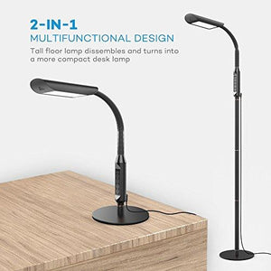 Floor Lamps, VAVA Dimmable LED Reading Lamp for Living Room, 1815 Lumens & 50,000 Hours Lifespan, Standing Lamp Desk Lamp Two in One, Flexible Gooseneck, Touch Control Panel, UL adapter, 12W - zingydecor