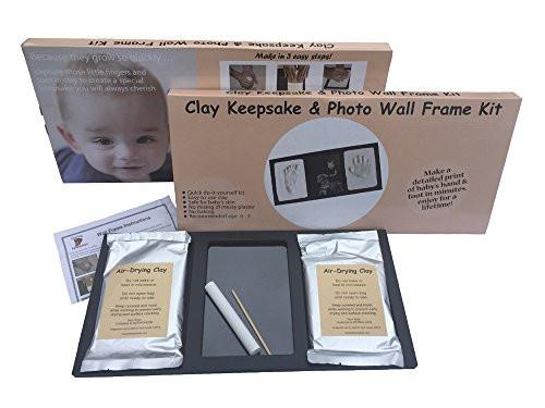 Clay Handprint & Footprint Keepsake Photo Wall Mount Frame - Black