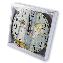"Load image into Gallery viewer, New 13""X 13"" Lighthouse Wood Wall Clock Home Wall Decor Marine Coastal Nautical"