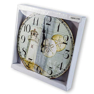 "New 13""X 13"" Lighthouse Wood Wall Clock Home Wall Decor Marine Coastal Nautical"