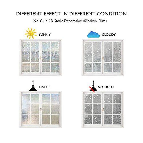 Window Film Privacy 3D Reuseable Heat Control UV Blocking Glass Panel Sticker, 35.4x78.7 Inches