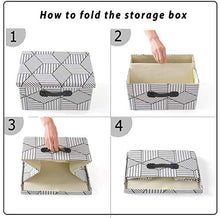 Load image into Gallery viewer, Foldable Lidded Storage Bins Cube Fabric Storage Basket with Handle Organizer Box Containers for Shelf Home Office Closet Nursery, 2 Pack